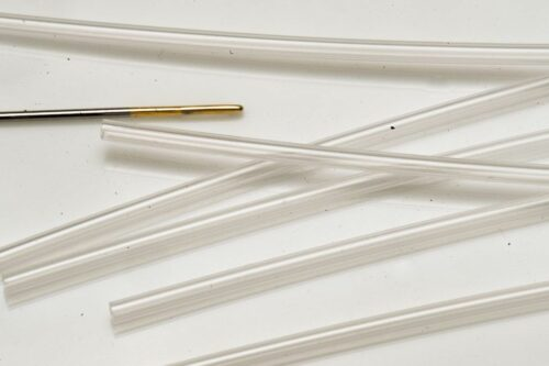 Fishmadman Tube fly needle Small 1.4 mm. A functional ...inexpensive way of setting tubes up for fly tying...Use a sewing needle...Works well with our small Hard tube 1.4 millimeter.